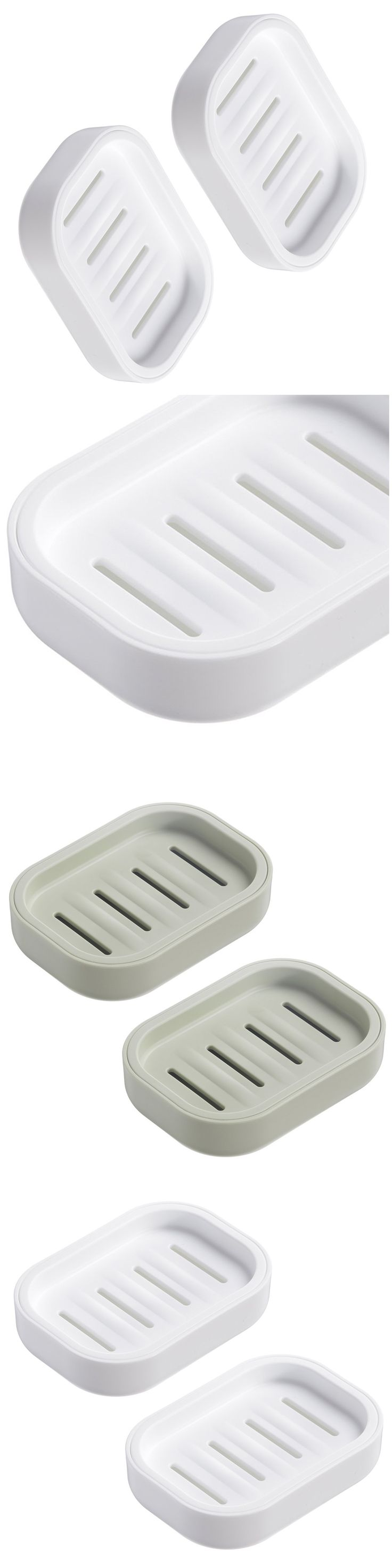 PP Plastic Soap Box Soap Container Keeps Soap Dry Easy Cleaning Drain (White 2 pack)