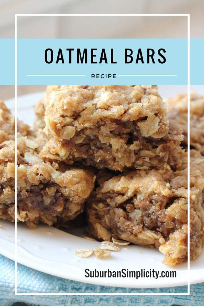 Heavenly {and easy} oatmeal bar recipe.  A  healthy snack or breakfast idea the whole family will love. #oatmealbars #oatmealsquares