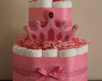 Mini 2 Tier Princess Diaper Cake, Girl Baby Shower, Pink Diaper Cake, Baby Girl Shower, Baby Shower Centerpiece, Pink Baby Shower