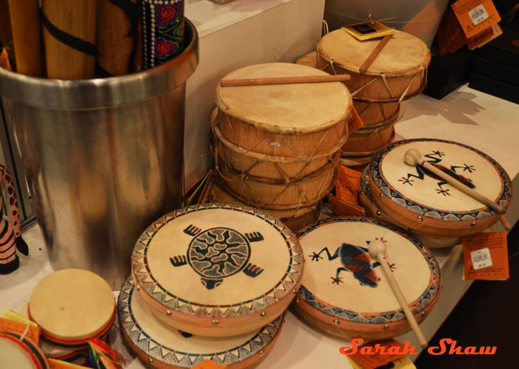 A selection of Native American drums at the ROM Museum Store  via WanderShopper