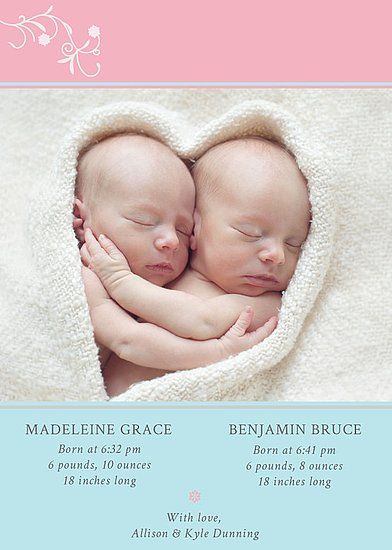 Cutest twin birth announcement ever