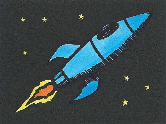 Rocketship  originele Linosnede afdrukken van MarkBHillArt op Etsy