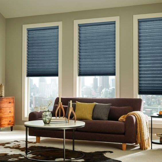 Pleated Shades Add Elegance To A Traditional Living Room.