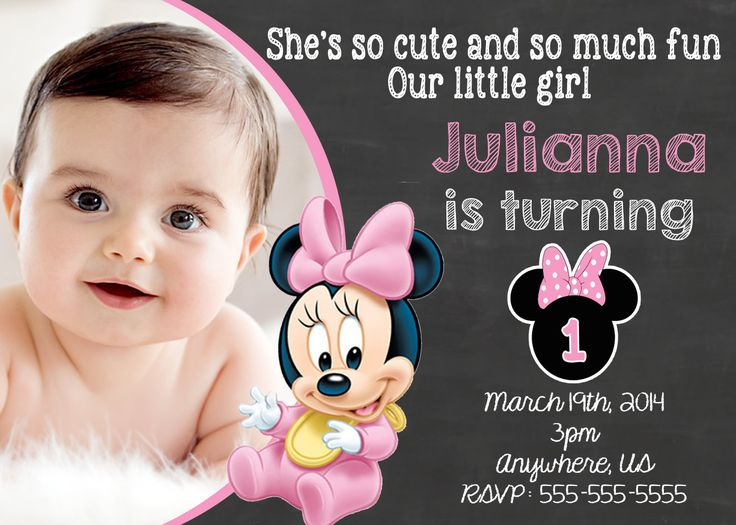 163 best Minnie Mouse Birthday Invitations and party supplies ...