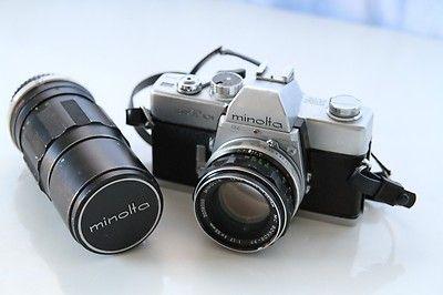 Vintage Minolta SRT 101 35mm Film Camera SR-T w/ 55mm + 200mm Rokkor Lens Lenses on eBay!