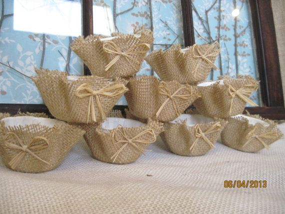 Burlap 60 Cupcake Wrappers Raffia Papers Unique Decor Wedding Shabby Party Real…