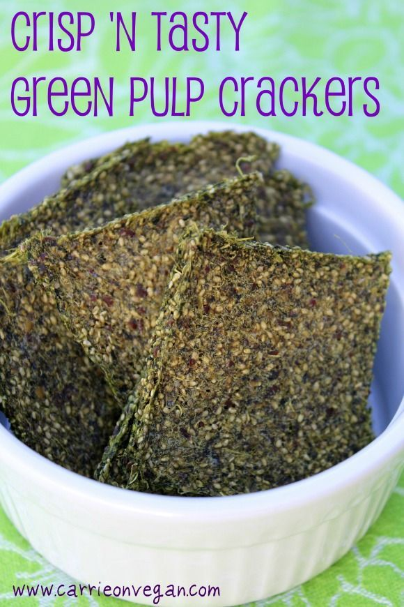 Green Juice Crackers from Carrie on Living. This is a vegan recipe made using the leftover pulp from juicing. YUM!