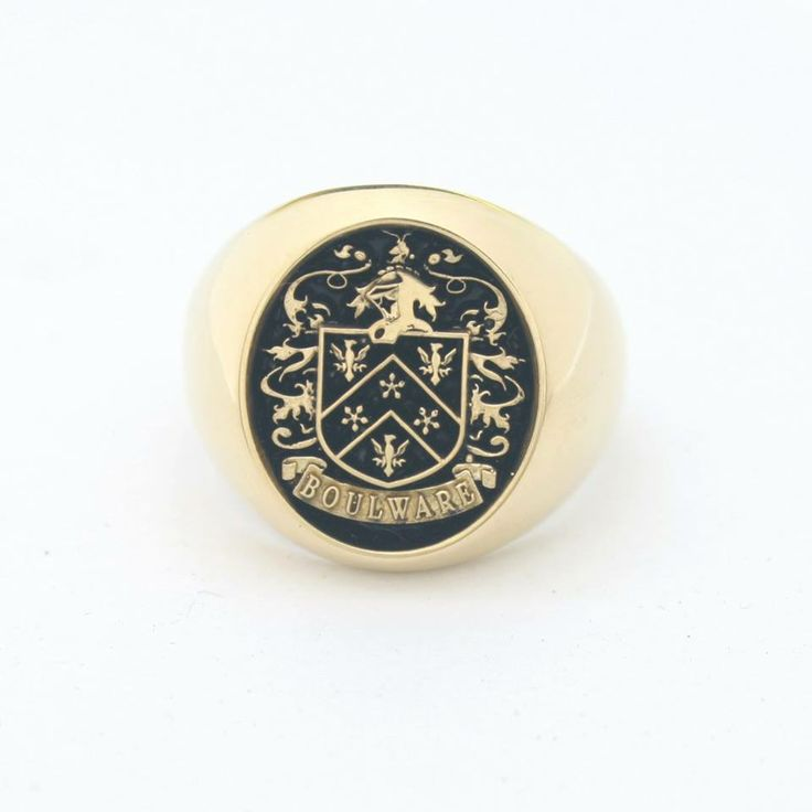 14k yellow Gold Family Crest Ring, Antique Finish