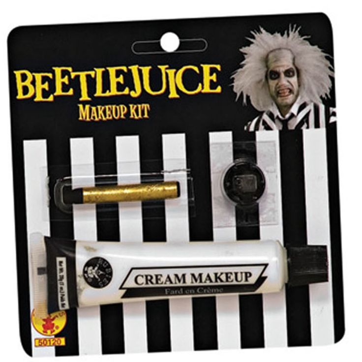 beetlejuice make-up kit includes 1 tube water washable white cream make-up 1 black make-up stick and tooth wax.
