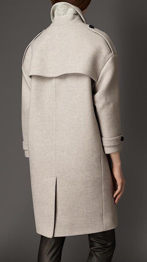 Pearl grey Oversize Virgin Wool Cashmere Herringbone Caban - Image 2