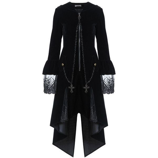 Gothic Witch Pixie Hood Gothic Coat by Dark in Love ($105) ❤ liked on Polyvore featuring outerwear, coats, gothic coat, long sleeve coat, long coat, leather-sleeve coats and gothic velvet coat