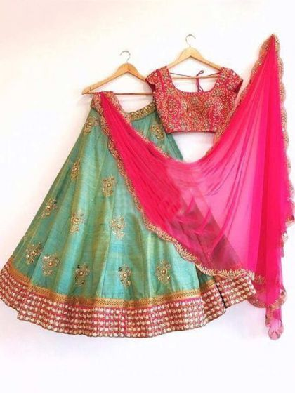Moss Green Paper Silk Embroidered Party Lehenga