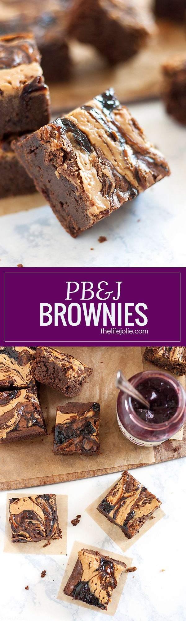 These homemade PB&J Brownies are an easy and delicious holiday dessert option. Chewy, fudgey chocolate brownies with a swirl of peanut butter and the fruit spread of your choice on top, these are made from scratch and would be great on a Thanksgiving of Christmas dessert table or just because you deserve a tasty dessert! #ad #EasyHolidayEats @smuckers