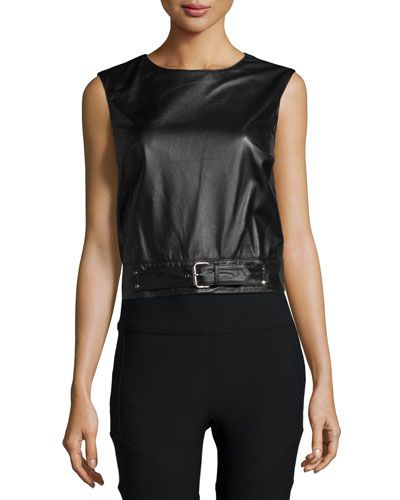 Nicole+Miller+Crewneck+Sleeveless+Belted+Leather+Crop+Top+|+Clothing