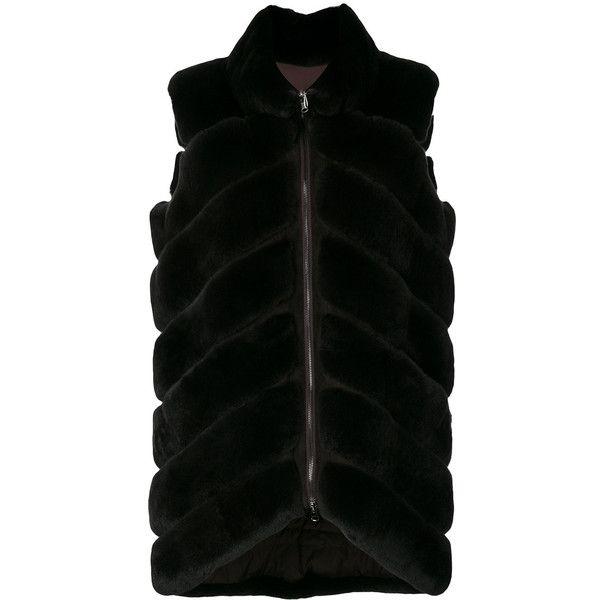 Liska fur quilted gilet (102,575 INR) ❤ liked on Polyvore featuring outerwear, vests, brown, brown fur vest, brown vest, gilet vest, brown waistcoat and fur gilet vest
