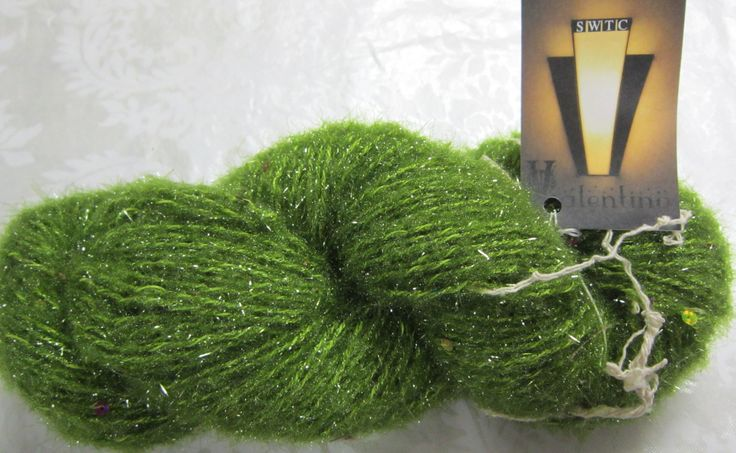 SWTC Valention yarn,dark avocado green, 1 skein, 100 gr, 110 m, 5% sequins, 15 percent metallic, 80 percent polyester, made in india by CCCyarnshopincountry on Etsy