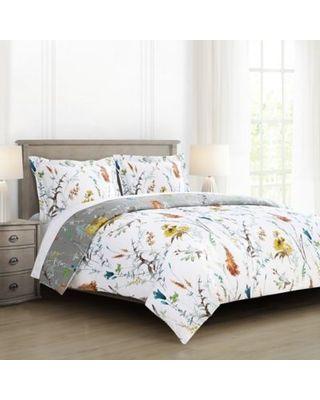 Brigita Floral Reversible King Comforter Set In White Grey From Bed