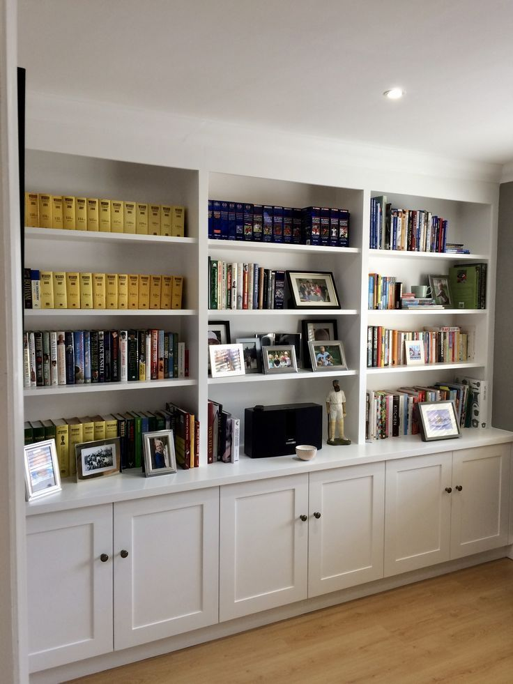 Wall To Wall Shelving With Cupboard Storage To Base Useful Shelving For Books Photos And Di Home Office Shelves Office Storage Cupboards Home Office Storage