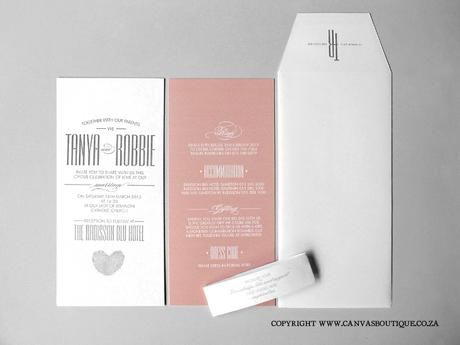 Tanya & Robbie's Letterpress Invitations - Canvas Stationery Boutique