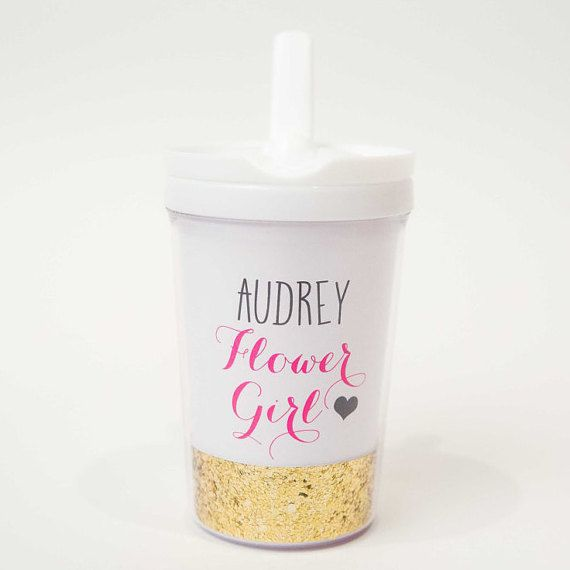 Flower Girl gift Personalized tumbler or sippy cup by SwankySips