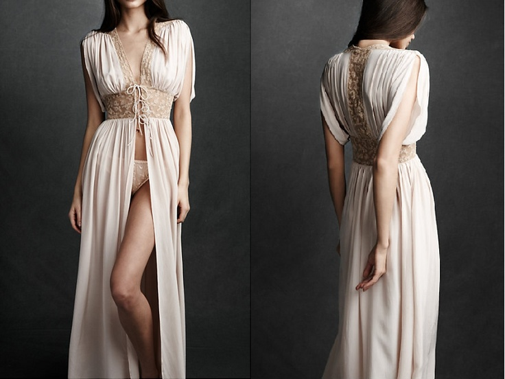 lace and silk georgette robe...has an old hollywood glamour feel..perfect to wear during wedding hair and makeup