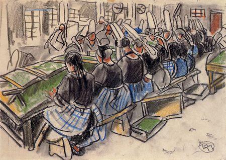 """""""Les femmes à l'usine, Saint-Guénolé"""", musée Mathurin Méheut"""