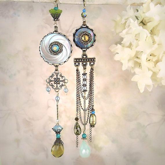Mystique - Aqua Blue Asymmetrical Mismatch Earrings, Ocean Beach Wedding, Bride Bridal, Unique Artistic Assemblage Collage via Etsy
