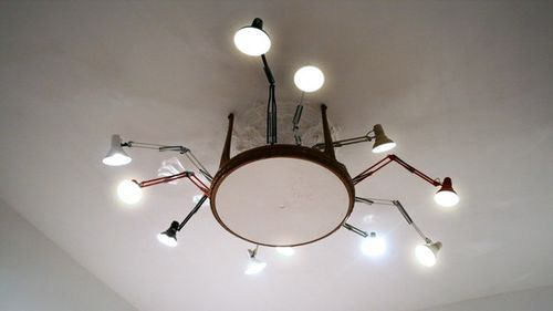 desk lamps on the ceiling