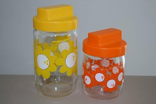 Sucre, café, farine...Tout dans les pots HENKEL Jaune et orange Années 70 - Vintage