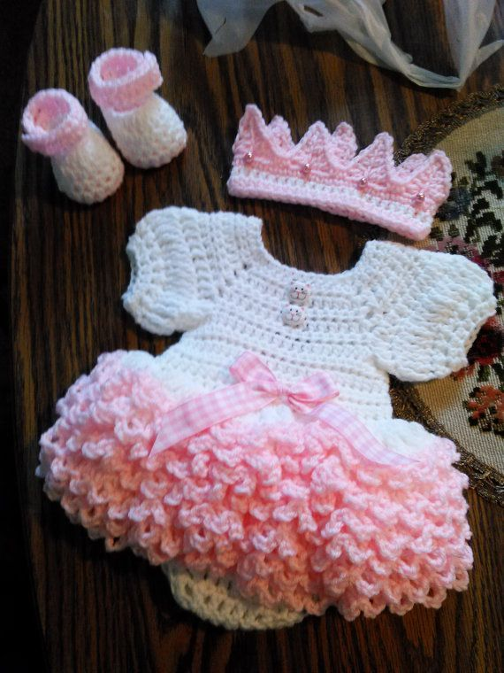 Super ruffled crochet onsie baby dress set. by BabyBeautiful801