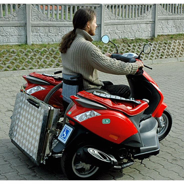 Wheelchair-Motorcycle.com by Broadened Horizons - Handiscoot French Wheelchair Motorcycle (ramp folds up at back).