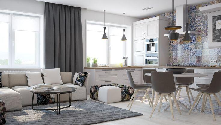 Кухня в  цветах:   Белый, Светло-серый, Серый, Черный.  Кухня в  стиле:   минимализм.