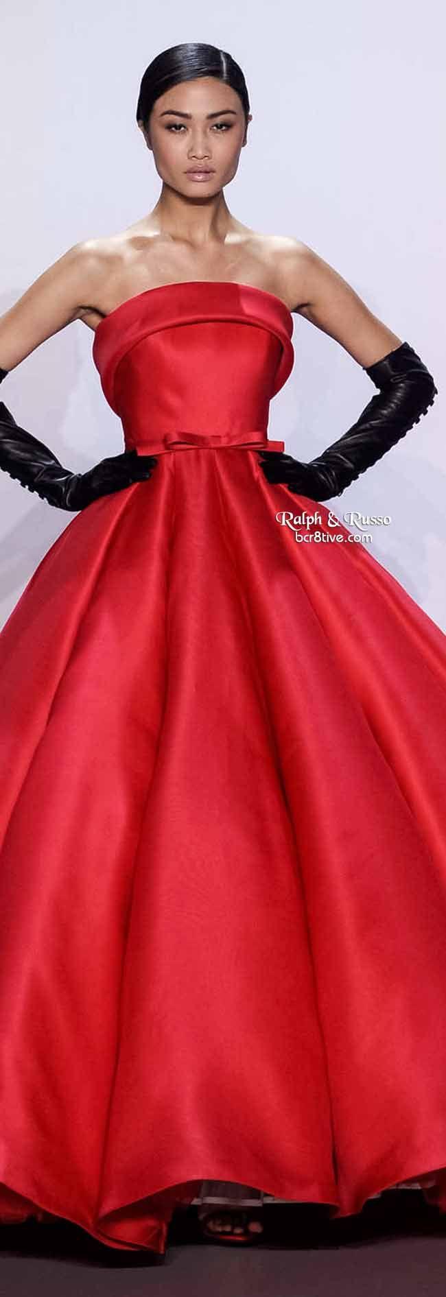 Ralph & Russo Spring 2014 HC | Raspberry red silk strapless gazar ballgown with soft roll collar and bow belt | High fashion