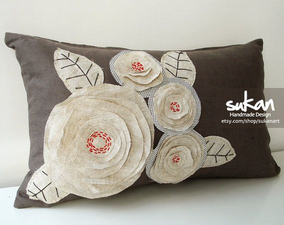 Sukan / Flowers Pillow Cover 12x20 by sukanart on Etsy, $55.95