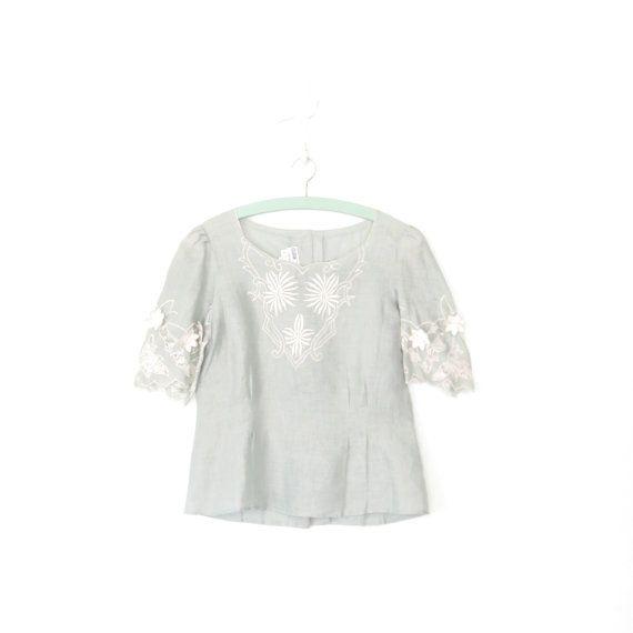 Vintage Linen Blouse  Floral Embroidered Blouse  by SparvVintage