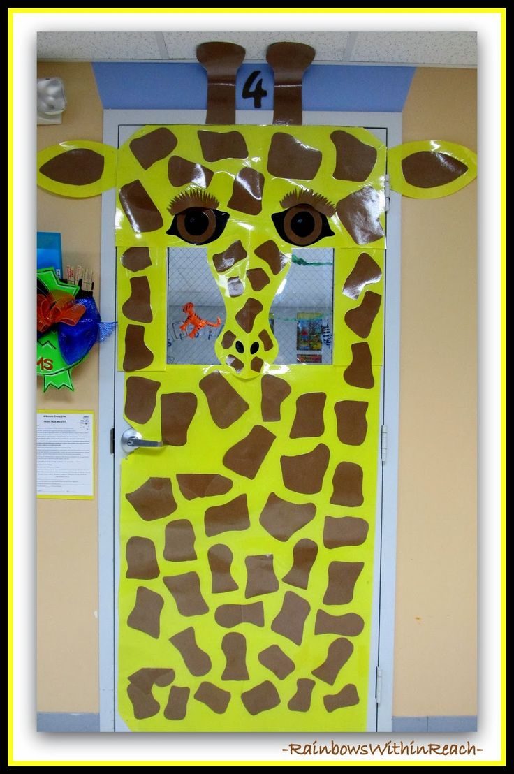 Decorated Classroom Door for Giraffe Theme via RainbowsWithinReach