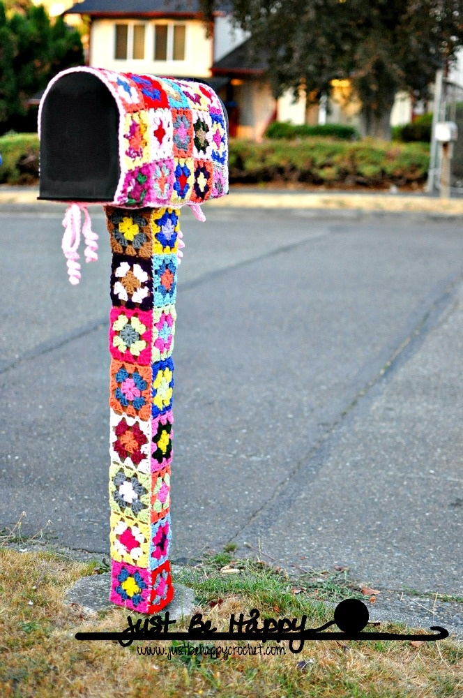 "Mailbox Yarn Bombing. Blogger ""Just be Happy"" on the spur of the moment decided to yarn bomb her mailbox. 36 granny squares later she did!"