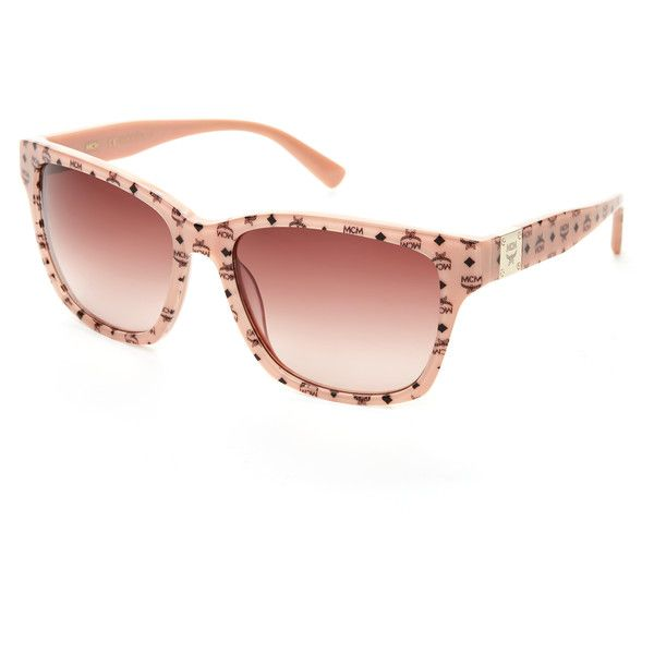 MCM600S Logo Wayfarer Sunglasses ($70) ❤ liked on Polyvore featuring accessories, eyewear, sunglasses, beige, plastic sunglasses, logo sunglasses, rimmed glasses, wayfarer glasses and plastic wayfarer sunglasses