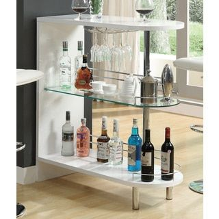 Coaster Company White Metal and Glass Bar Table