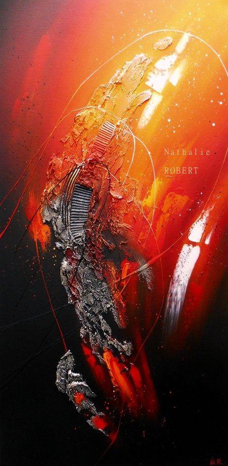 Volcano - Tableau abstrait peinture contemporaine acrylique en relief noir rouge orange blanc doré :