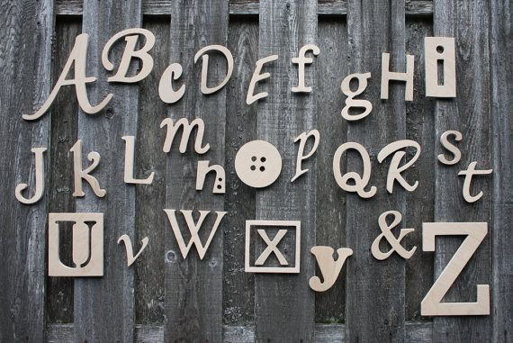 Wooden Alphabet Letters Set, Unfinished Unpainted Wood Letters, Nursery Wall Decor ABC Alphabet Wall on Etsy, $78.58 CAD