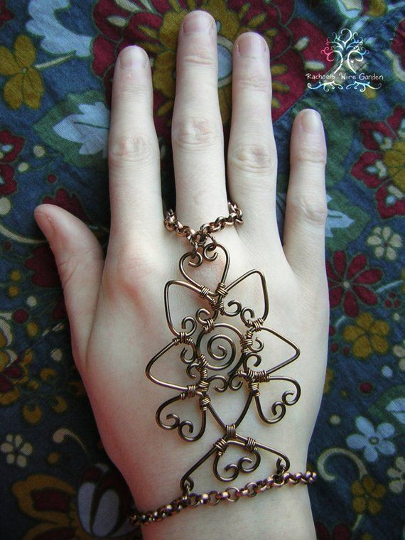 043eeed1dab86 Wire Wrapped Henna Slave Bracelet Bronze Flower Lotus and Hearts ...