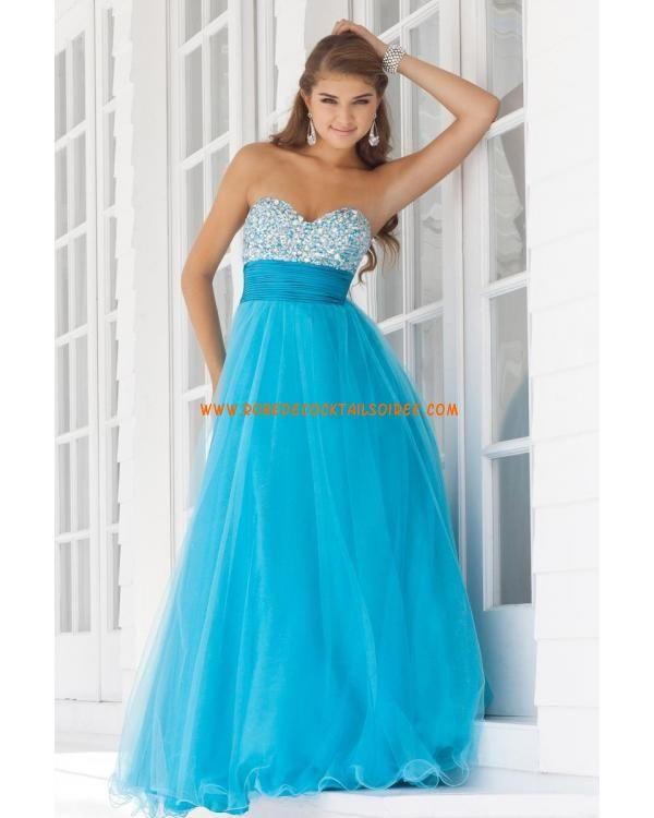 Bleue glamour sans bretelle col en cœur pas cher avec cristaux tulle robe de bal 2013