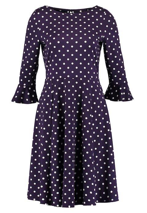 Wallis Jerseyjurk - purple - Zalando.nl dress polkadots print paars jurk stippen print vintage look 1970s