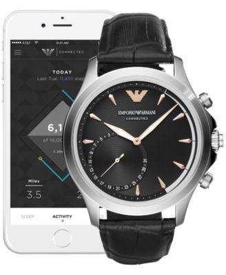 Emporio Armani Men's Connected Black Leather Strap Hybrid Smart Watch 43mm - Black
