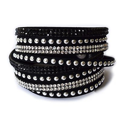 Double Wrap Crystal and Stud Bracelet - Black