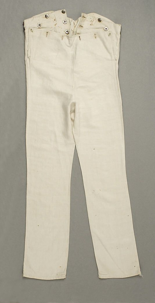 Pantaloons ca. 1830-40 These American pantaloons are made of linen, a common fabric for garment during the Empire period. These tight fitting trouser ended at the ankle. However, some pantaloons were made in calf length. This was a time when the male silhouettes were featured by garments that had a closer cut to the body.