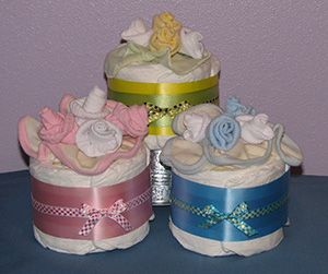 floral (sock) diaper cakes for centerpieces.