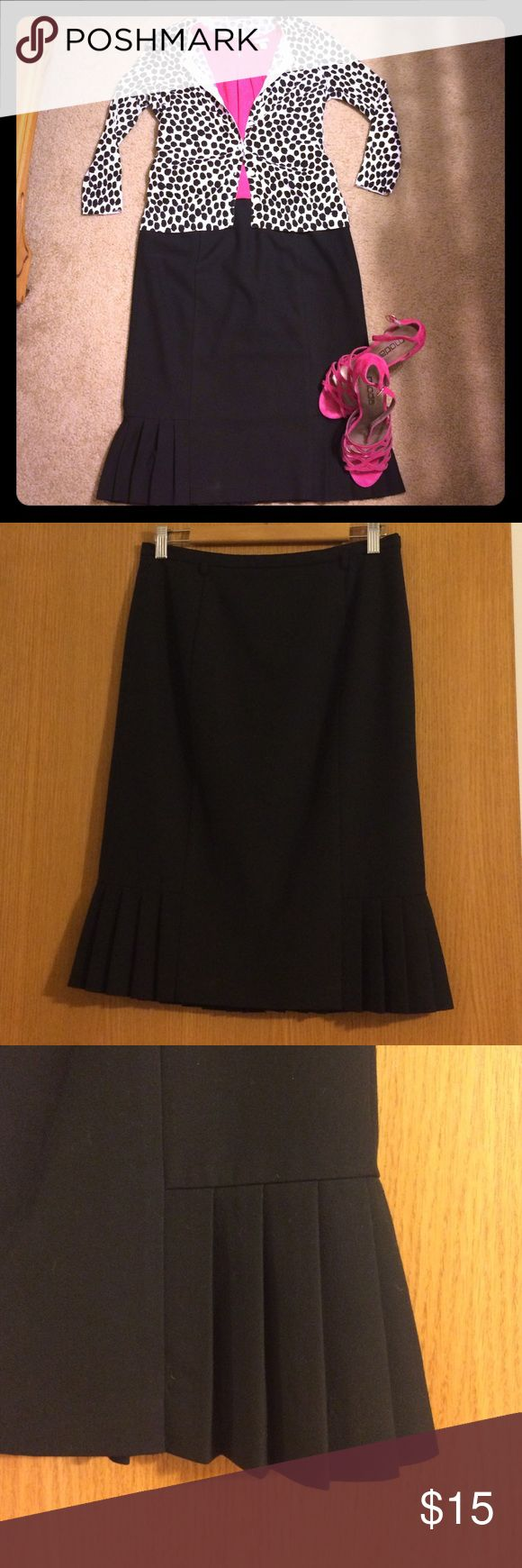 Talbots Black Pencil Skirt Adorable black pencil skirt with feminine pleating at hem. Fully lined. Hidden zipper in back. Missing belt. Size 4. Talbots Skirts Pencil