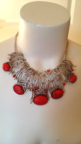 Red Hot silver fashion necklace – Fancy Duds $30.00